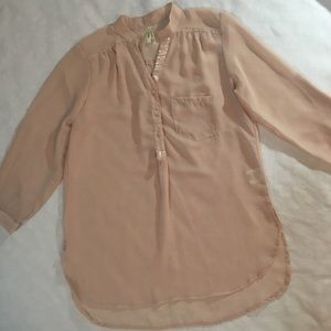 TRUTH Top Sheer Blush Sequins Hi-Lo Large